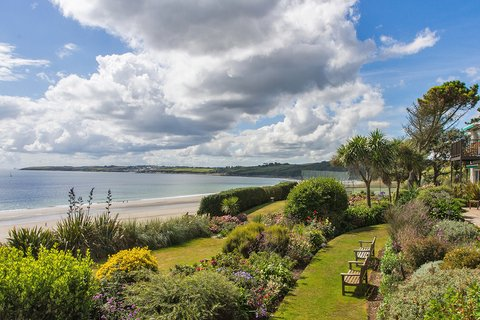 Landscaped gardens overlook Carne Beach